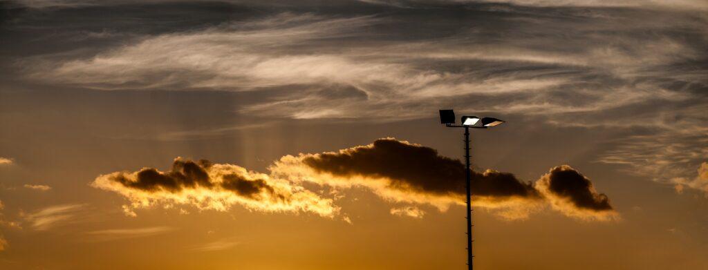 flood light at dusk houston commercial lighting services